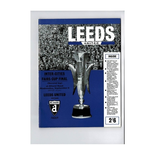 1967 Leeds United v Dinamo Zagreb Fairs Cup Final Football Brochure
