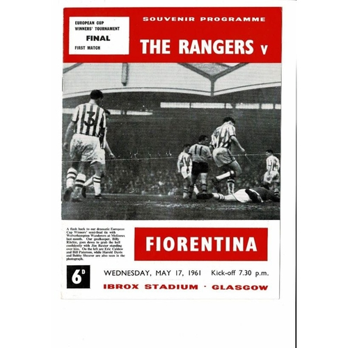 1961 Rangers v Florentina European Cup Winners Cup Final Football Programme