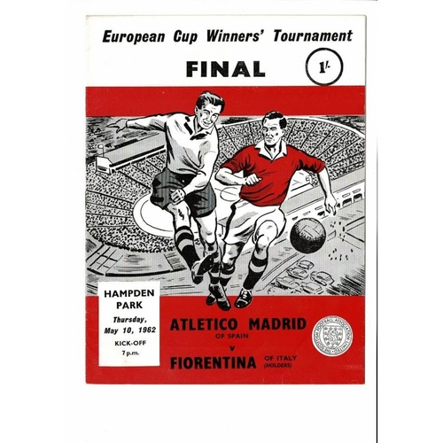1962 Athletico Madrid v Florentina European Cup Winners Cup Final Programme
