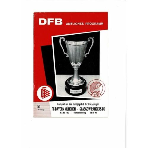 1967 Bayern Munchen v Rangers European Cup Winners Cup Final Football Programme