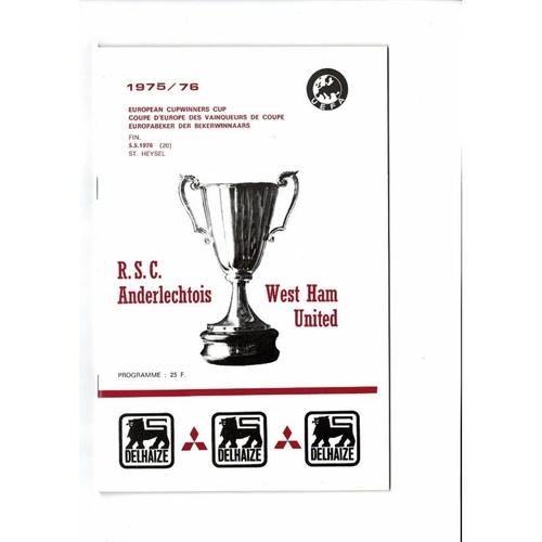 1976 Anderlecht v West Ham United European Cup Winners Cup Final Programme