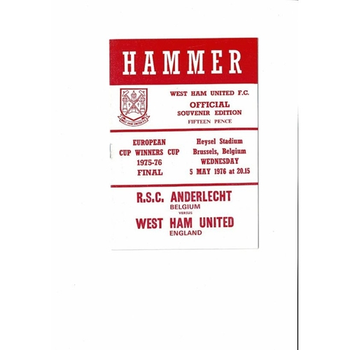 1976 Anderlecht v West Ham United European Cup Winners Cup Final Football Programme. West Ham Edition