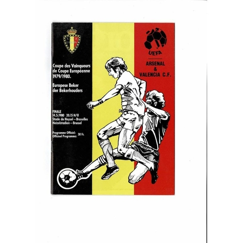 1980 Arsenal v Valencia European Cup Winners Cup Final Programme