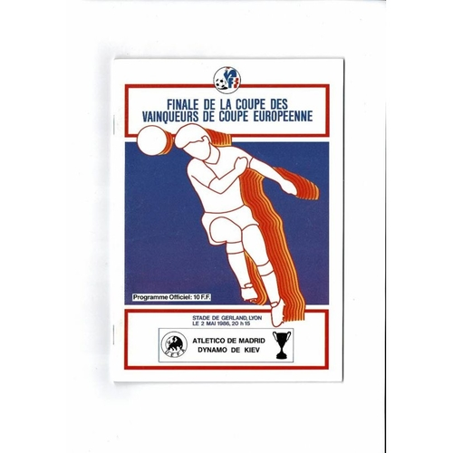 1986 Atletico Madrid v Dynamo Kiev European Cup Winners Cup Final Programme