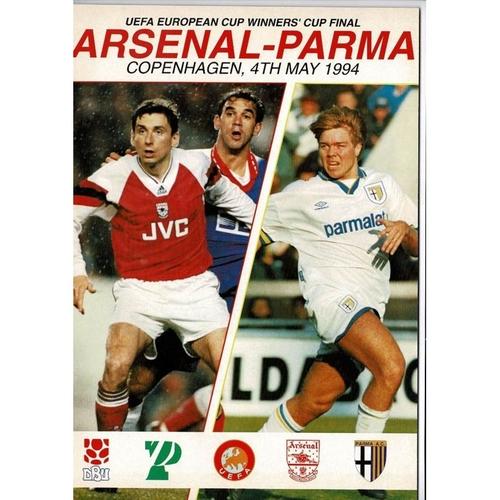 1994 Arsenal v Parma European Cup Winners Cup Final Football Programme + Team Sheet