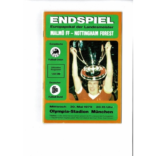 1979 Malmo v Nottingham Forest European Cup Final Football Programme Orange Cover
