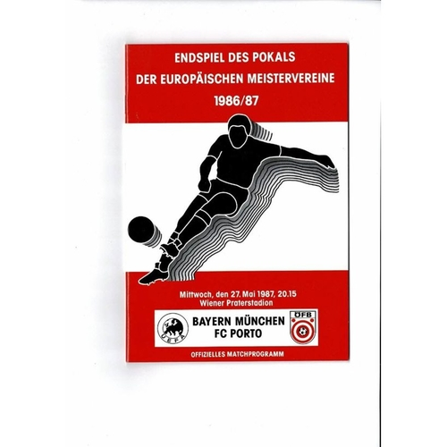 1987 Bayern Munchen v Porto European Cup Final Football Programme