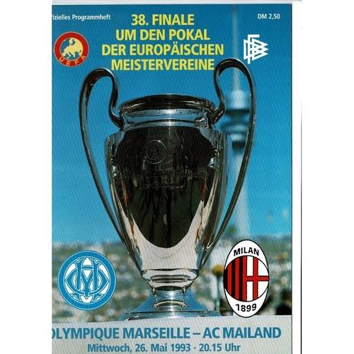 1993 Marseille v AC Milan European Cup Final Football Programme