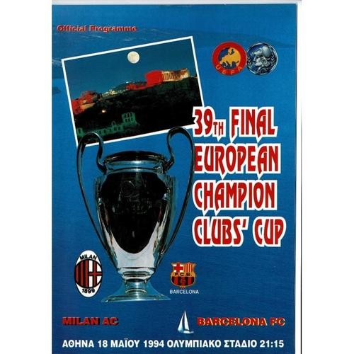1994 AC Milan v Barcelona European Cup Final Football Programme + Team Sheet