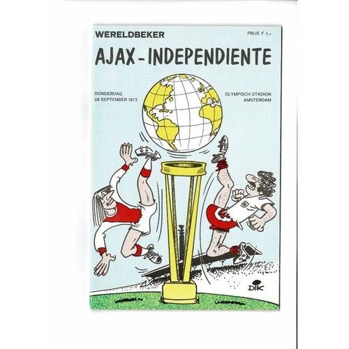 1972 Ajax v Independiente World Club Championship Football Programme