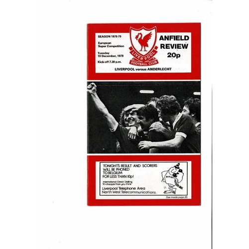 1978 Liverpool v Anderlecht European Super Cup Final Football Programme