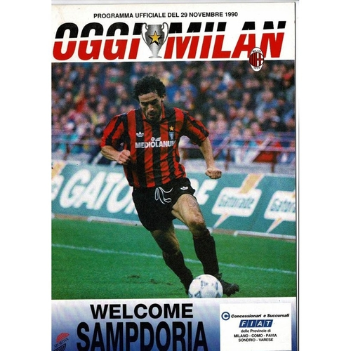 1990 AC Milan v Sampdoria Super Cup Final Football Programme
