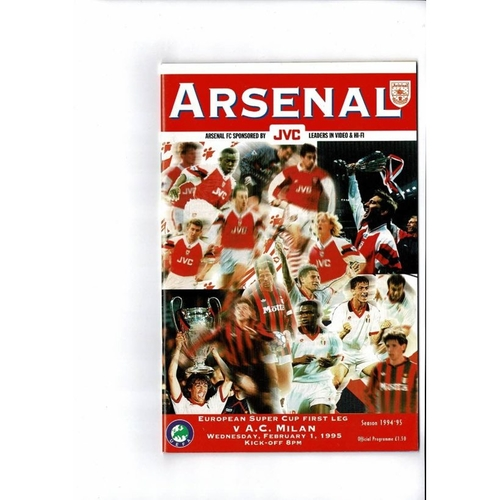 1995 Arsenal v AC Milan Super Cup Final Football Programme