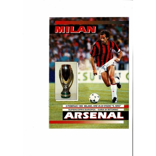 1995 AC Milan v Arsenal Super Cup Final Football Programme