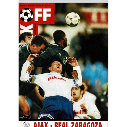 1996 Ajax v Real Zaragoza Super Cup Final; Football Programme