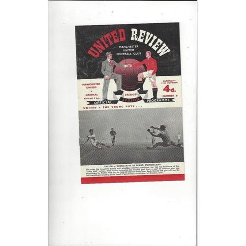 1958/59 Manchester United v Arsenal Football Programme