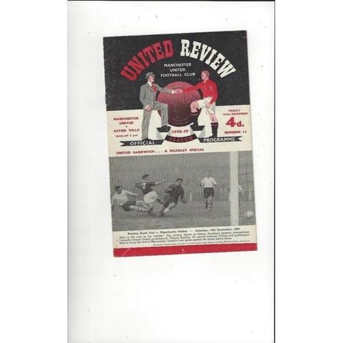 1958/59 Manchester United v Aston Villa Football Programme