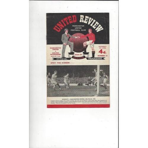 1958/59 Manchester United v Bolton Wanderers Football Programme
