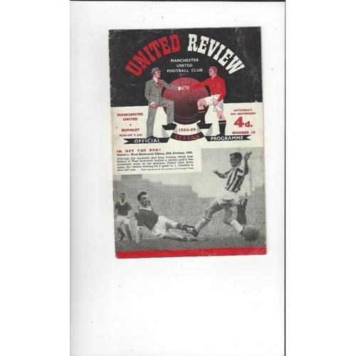1958/59 Manchester United v Burnley Football Programme