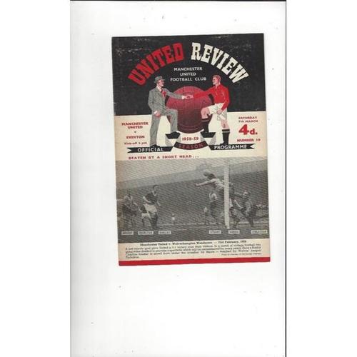 1958/59 Manchester United v Everton Football Programme