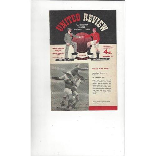 1958/59 Manchester United v Manchester City Football Programme
