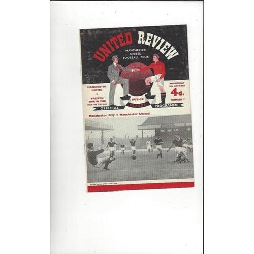 1958/59 Manchester United v Preston Football Programme