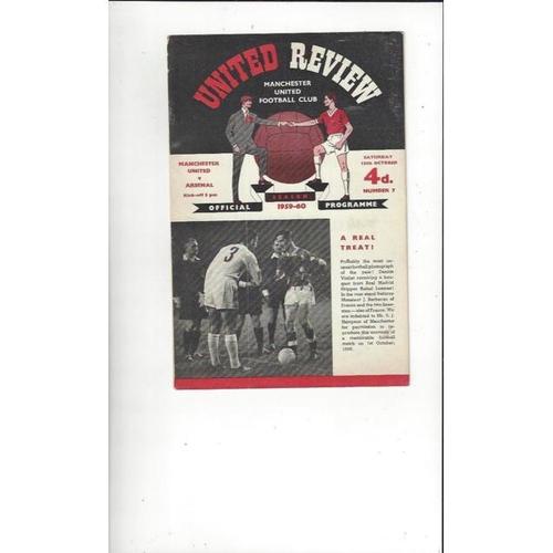 1959/60 Manchester United v Arsenal Football Programme
