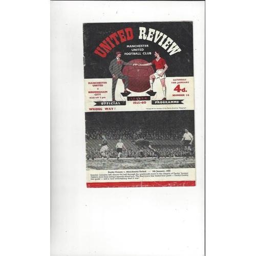 1959/60 Manchester United v Birmingham City Football Programme