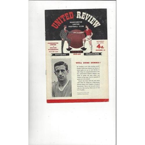 1959/60 Manchester United v Bolton Wanderers Football Programme