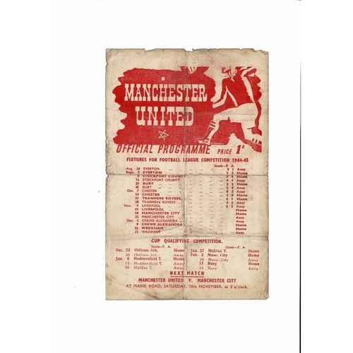 1944/45 Manchester United v Liverpool War Time League Football Programme