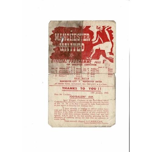 1944/45 Manchester United v Manchester City War Time League Programme Feb 3rd