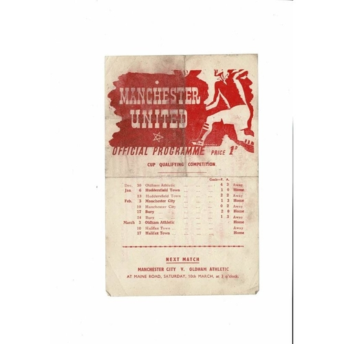 1944/45 Manchester United v Oldham Athletic War Cup Football Programme