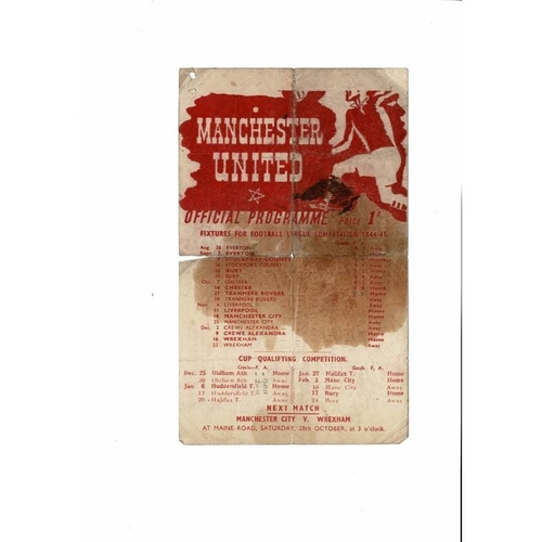 1944/45 Manchester United v Tranmere Rovers War Time League Football Programme