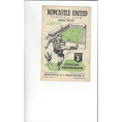 1950/51 Newcastle United v Manchester United Football Programmes