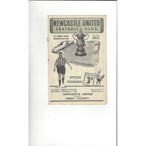 1951/52 Newcastle United v Derby County Football Programme