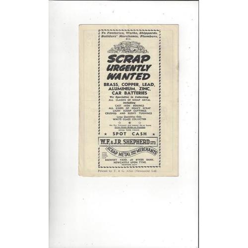 1951/52 Newcastle United v Derby County Football Programme