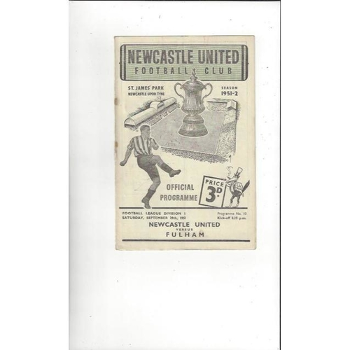 1951/52 Newcastle United v Fulham Football Programme