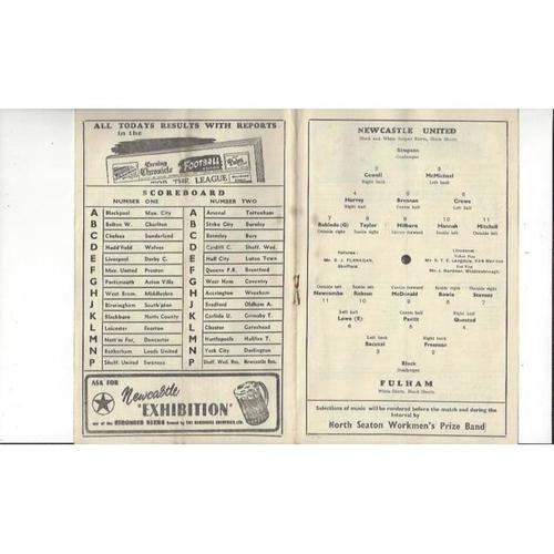 1951/52 Newcastle United v Fulham Football Programme