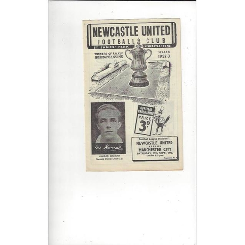 1952/53 Newcastle United v Manchester City Football Programme + Press Cuttings