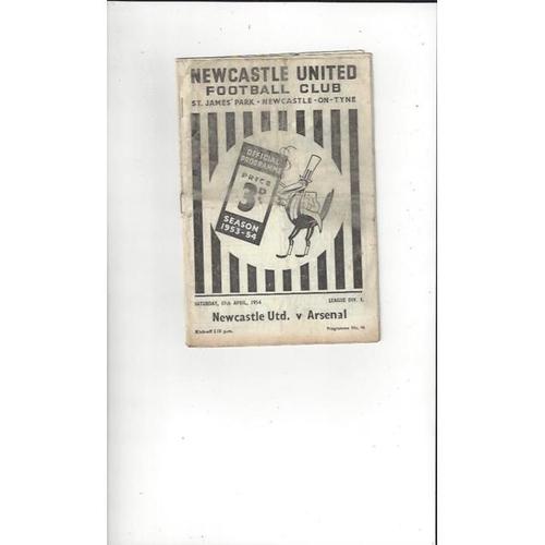 1953/54 Newcastle United v Arsenal Football Programme