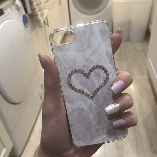 Swarovski Phone Case IPHONE 8 Marble Crystal Heart