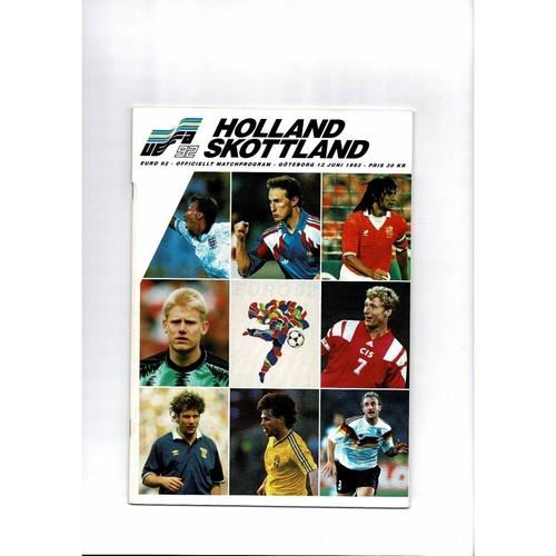Euro 92 Holland v Scotland Football Programme