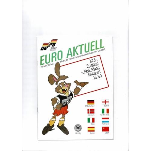 Euro 88 England v Eire Football Programme