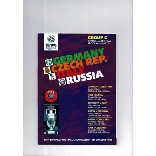 Euro 96 Group C Germany, Czech, Italy & Russia Football Football Programme