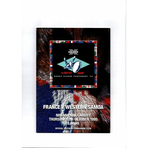 1995 France v Western Samoa Rugby League World Cup Programme