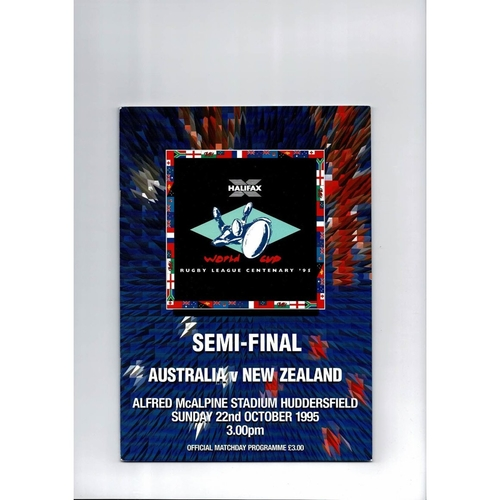 1995 Australia v New Zealand Rugby League World Cup Semi Final Programme