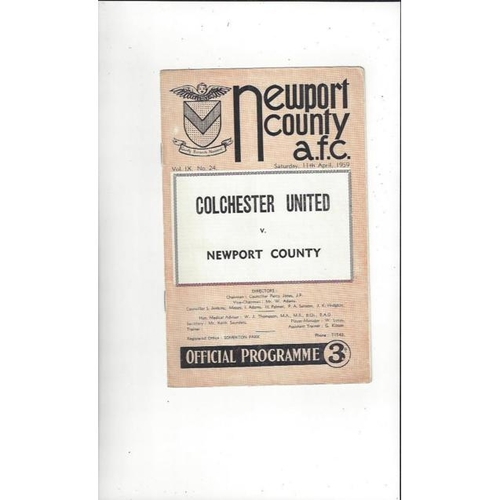 1958/59 Newport County v Colchester United Football Programme