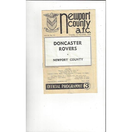 1958/59 Newport County v Doncaster Rovers Football Programmes