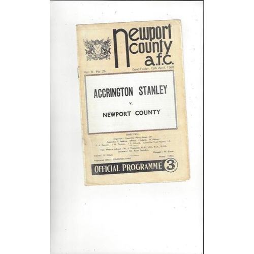 1959/60 Newport County v Accrington Stanley Football Programme