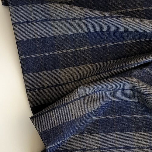 Blue and Grey Check Cotton